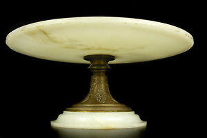 Coupe En Bronze & Albâtre Ou Marbre Sur Piedouche C 1900 Alabaster Cup 29 Cm