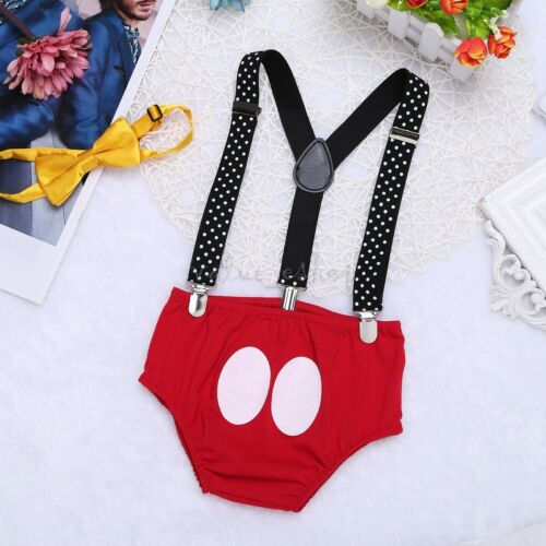 Infant Baby Boys 1st First Birthday Outfits Bloomers Pants Suspender Cake Smash