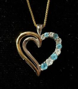 ba26e5dd4 Kay Jewelers 10k yellow Gold & sterling silver Blue topaz heart ...