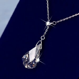 18k white gold gp made with swarovski crystal drop pendant necklace up to 47cm