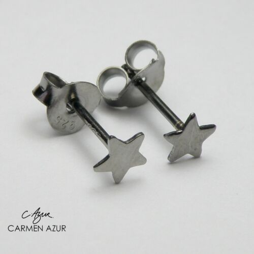 Solid 925 Sterling Silver Stud Earrings Small Black Star New inc Gift Bag