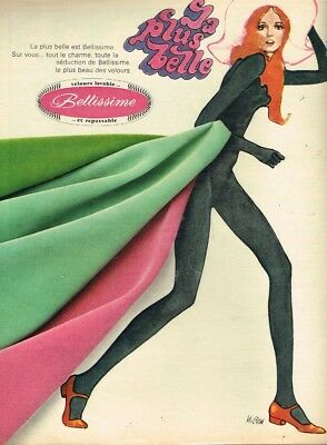 Publicité Advertising 1967 Le Tissu Velours Bellissime Par Wigudd Can Be Repeatedly Remolded. Reasonable C Collectibles