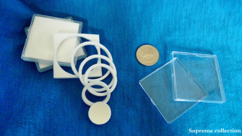 6 pcs Sponge Lining Square Coin Holders For 17 22 27 32 37mm White High Quality