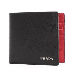 fdfdc3074187 PRADA SAFFIANO Black Red Calf Leather Wallet Mens Billfold 2MO912 ...