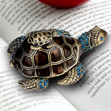 Turtle Jewelry Box Trinket Case Crystals Metal Animal Gift Storage Organizer
