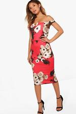9cecb0722441 Boohoo Livvy Floral Off the Shoulder Midi Dress Size 12 Uk BNWT RRP £23.99  Red