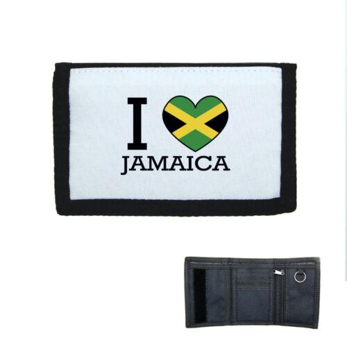 Brieftasche Klettverschluss Geldbeutel I Love Flagge Jamaika