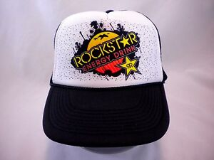 Image is loading Rockstar-Energy-Drink-Trucker-Cap-Black-Mesh-Snapback- 1bed2bd0f03