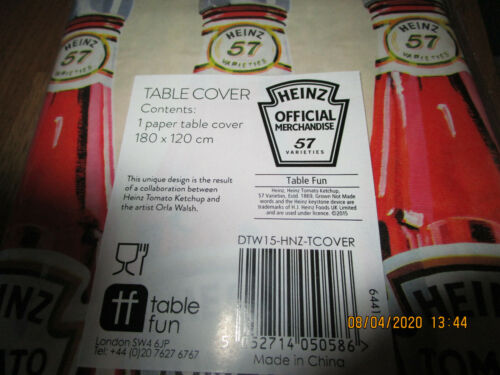 8 x TALKING TABLES HEINZ KETCHUP ORLA WALSH TABLE CLOTH TABLE COVER DISPOSABLE