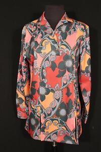 Blusen, Tops & Shirts Selten Vintage Französisch 600ms Braun & Schwarz Poly Bedruckte Bluse Größe L HöChste Bequemlichkeit
