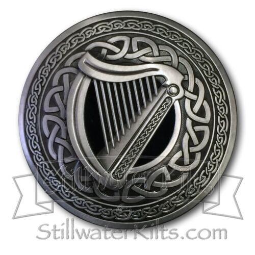Deluxe Irish Harp Fly Plaid Sash Brooch by Stillwater Kilts