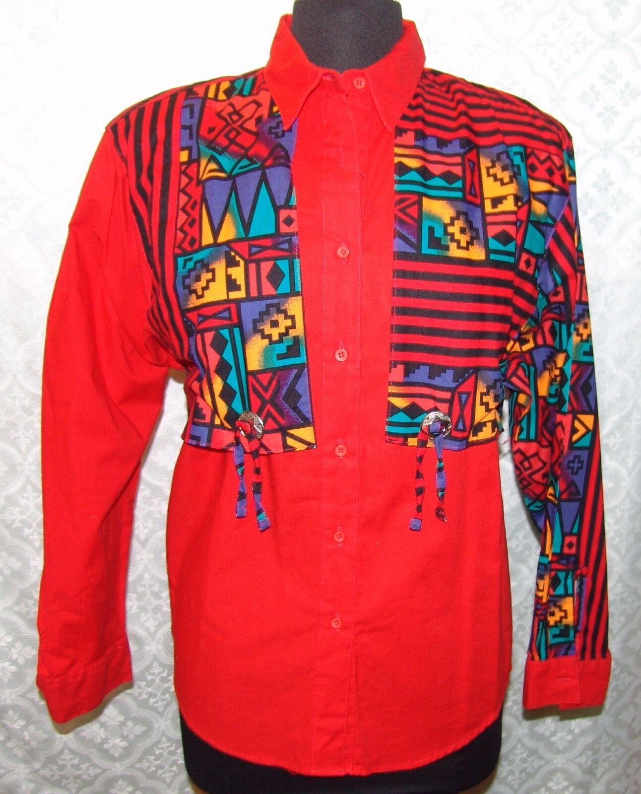 Wrangler Authentic Western Apparel Shirt M Womens Vtg Overlay Southwestern Aztec