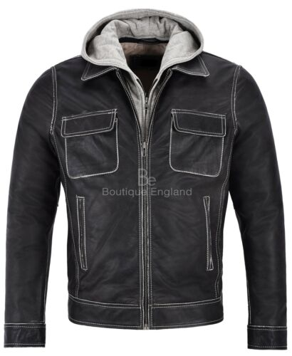 Men/'s Real Leather Jacket Buffalo Skipper Biker Style Slim Fit Hood 165