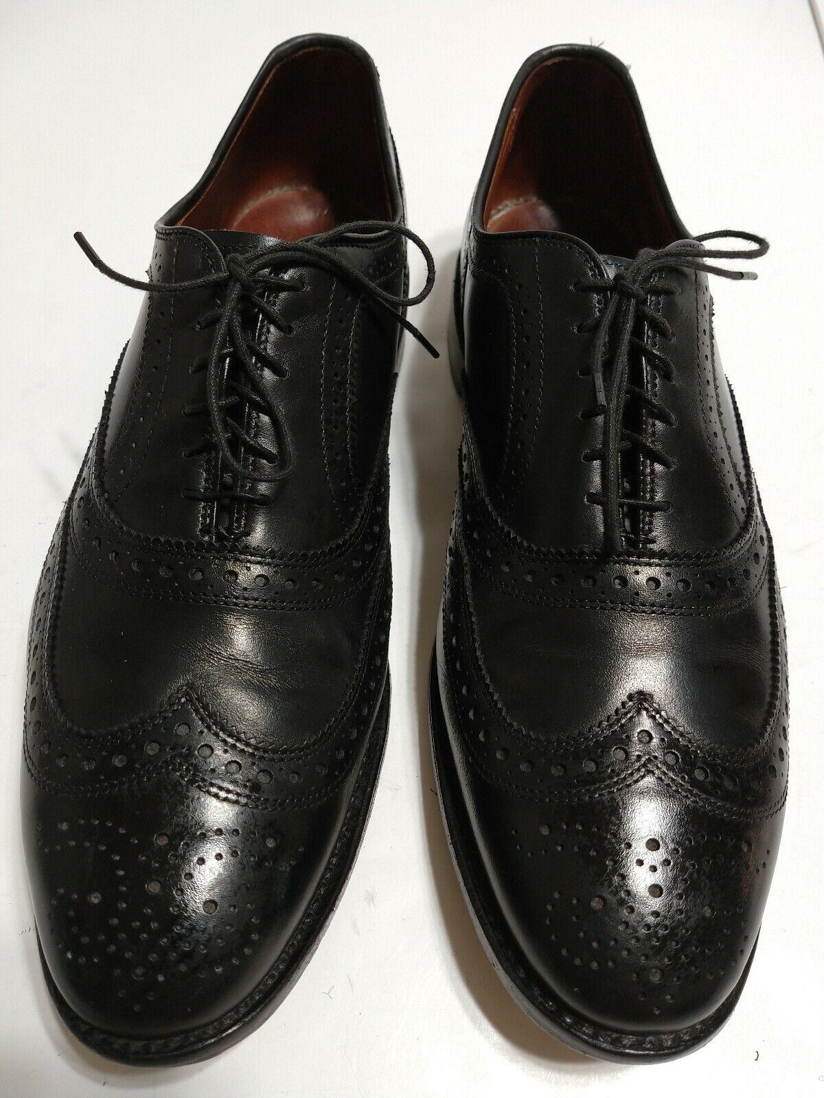Allen Edmonds McAllister Negro Cuero punta del ala de vestir Zapatos para hombre 10 D