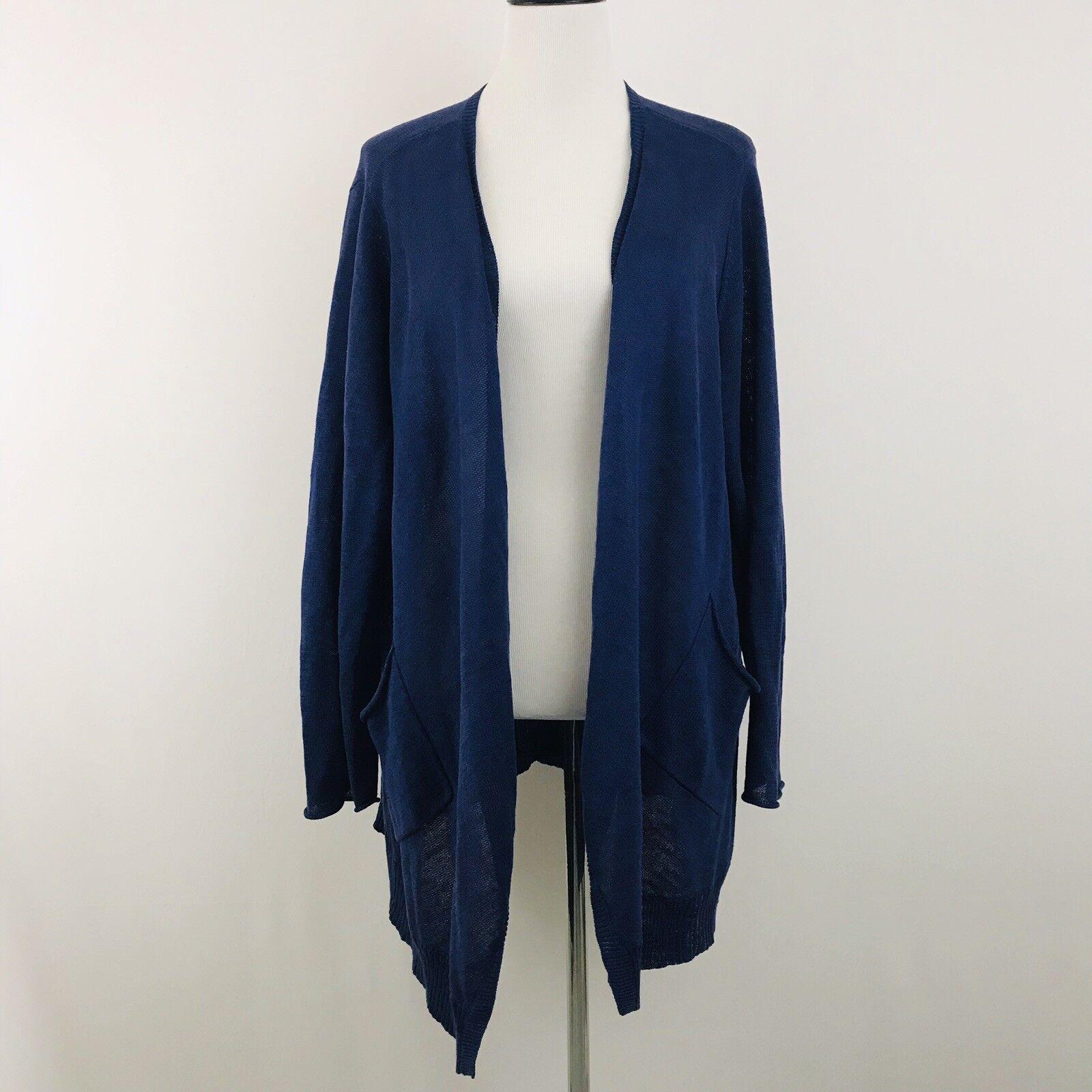 Eileen Fisher Woman Sz 2X Plum Purple Linen Open Front Cardigan Sweater