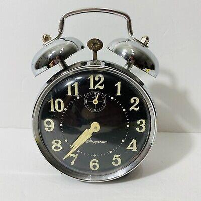 Vintage Ingraham Wind Up Alarm Clock Steampunk Made In Brazil Works Prop Ebay