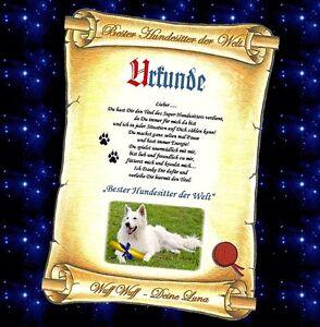 Hund Katze Geschenk Urkunde Gold Weihnachten Danke Bester Hundesitter der Welt