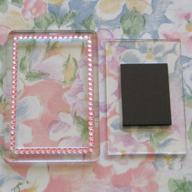 2x Blank Pink Gemstone Acrylic Magnets 81x55mm Frame Size & 70x45mm Photo Size