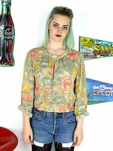 WOMENS-VINTAGE-80-039-S-PASTEL-FLORAL-PATTERNED-CROPPED-BLOUSE-CUTE-CROP-TOP-10