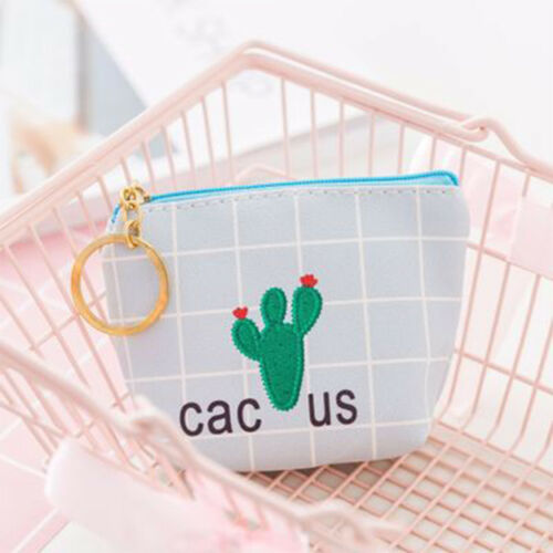 Lovely Cactus Leather Coin Purse Women Wallet Earphone Card Key Storage Bags