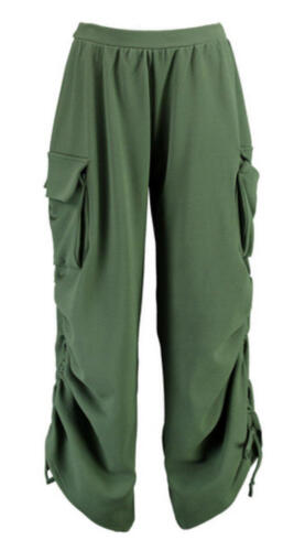 T67 New Women Girls Ladies Side Pocket Rouched Leg Utility Plus Size Trousers