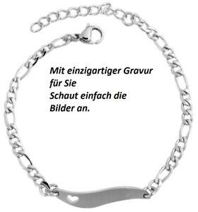 Kinderamrkette-Armband-Armreif-Armkette-Edelstahl-Silber-Gravur-Geschenk-Dame
