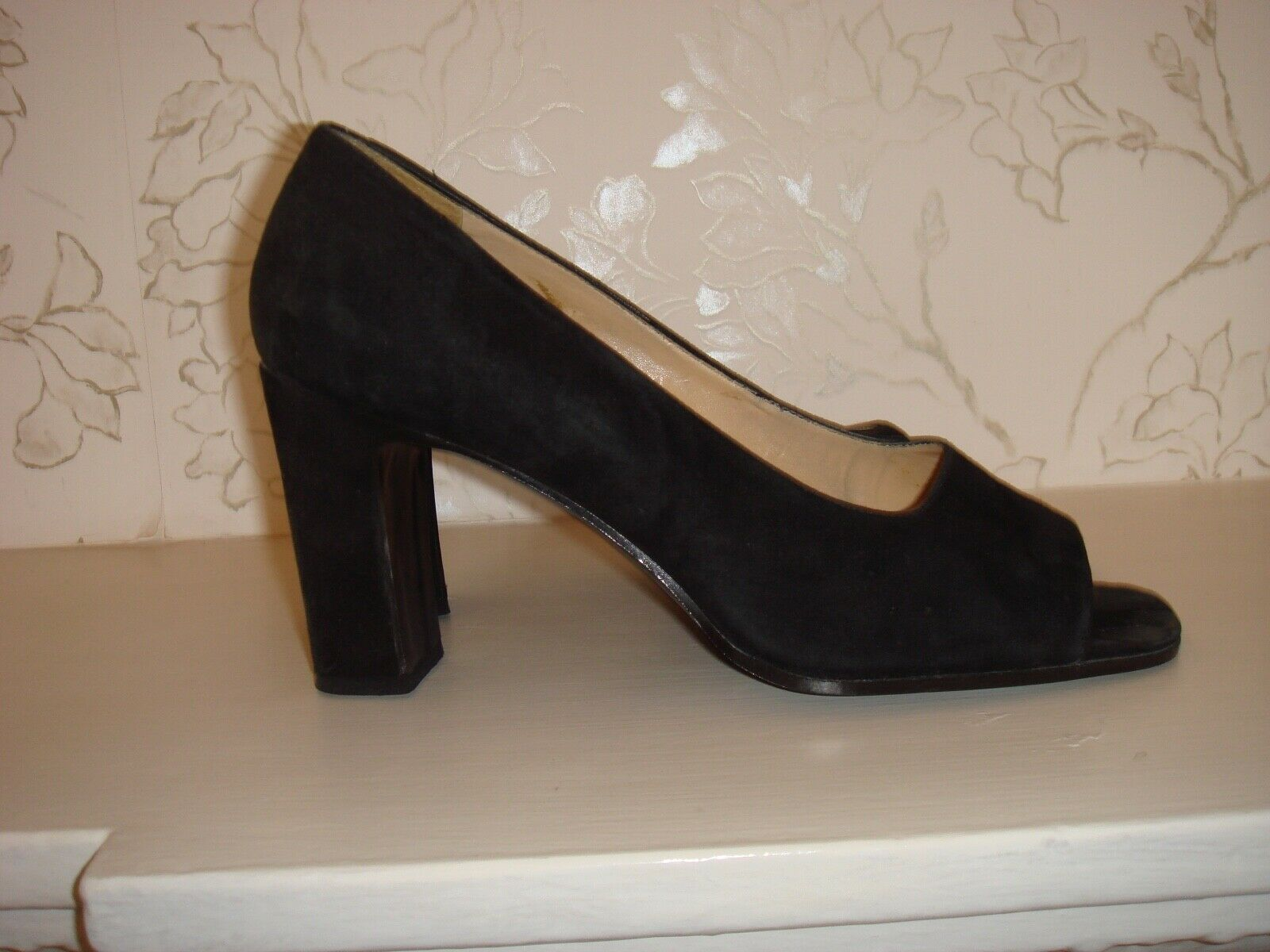 Women's Vintage Nine West Black Suede Open Toe shoes Heels 7 1 2 M UK 5 Brazil