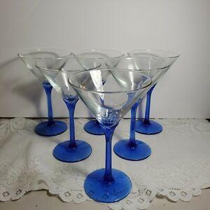 "Cobalt Blue 6 Sided Tulip Swirl Stem Top Martini Style Glasses 6 Pcs 7"" H OA4C02"