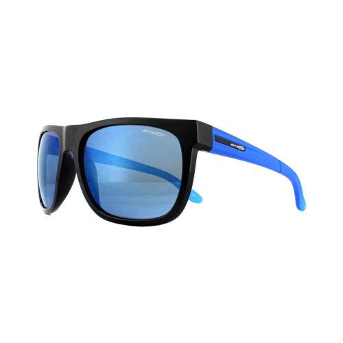 Gafas de sol Arnette 4143 Fire Drill 222555 Negro Goma Arándano Azul Espejo