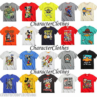 New Boys CHARACTER T-shirt 1-2 Pack Kids Cartoon Short Sleeve Top Age 1-16 Years
