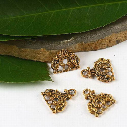 15pcs dark gold-tone crafted flower connectors h2303