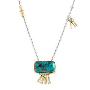 Silpada-039-Turquoise-Burst-039-Compressed-Turquoise-Pendant-Silver-amp-Brass-16-034-2-034
