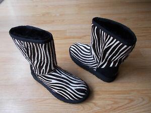 374a72a6f4c Details about $240 UGG Australia Classic Short Exotic Zebra Print Sheepskin  Boots Flat 6 NEW