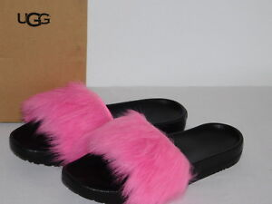 9571df43897 Details about NEW WOMENS SIZE 5 NEON PINK 1018875 ROYALE SHEEPSKIN POOL  SLIDES SLIPPERS