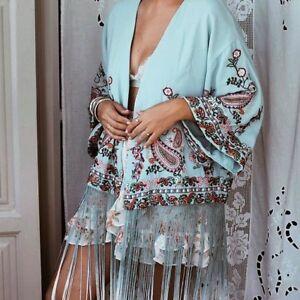 L With Bnwt Kimono Embroidered Fringing xl Zara Size EwqXgHHO