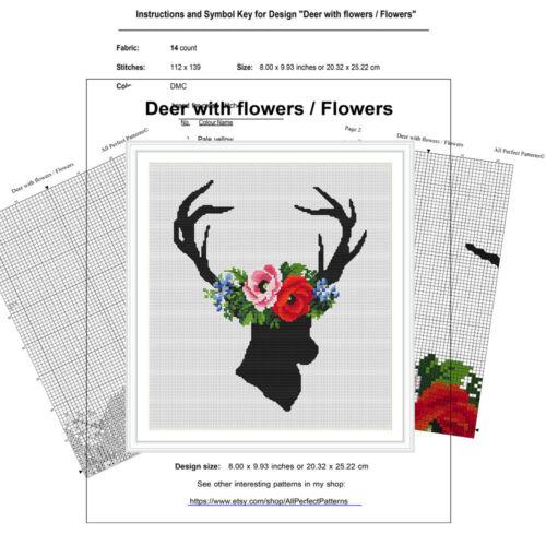 Wild Deer-Flores-xstitch moderno punto de cruz patrón PDF 033