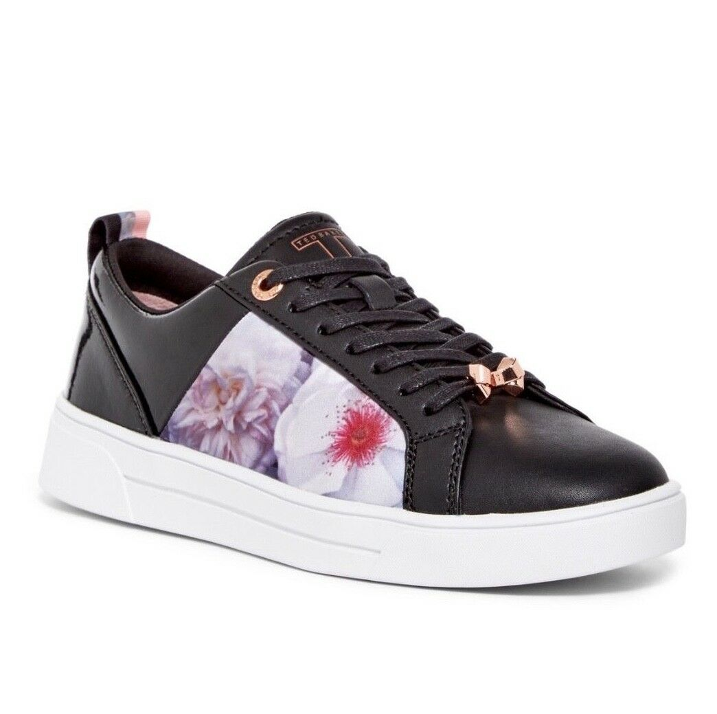New TED BAKER LONDON Woman Black Chelsea Leather and Satin Sneaker SZ US8 EU38.5
