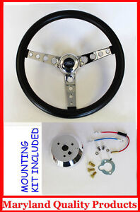 70-77-Mustang-GT-Retro-Black-Steering-Wheel-14-1-2-034-High-Quality-Ford-Cap