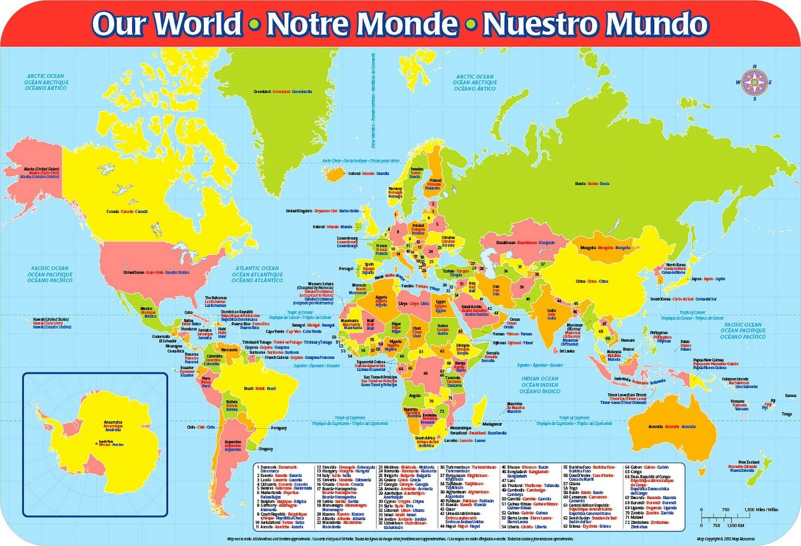 Picture of: World Map Educational Placemat Countries Continents Oceans Globe Atlas Learning For Sale Online