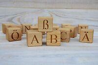 30 German Alphabet Wood Blocks, Wood Cubes with Letters, ABC Blocks