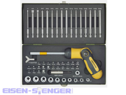 knickbarem Ratschendreher u Magnethalter 54-tlg. Proxxon 23104 Schraubersatz m