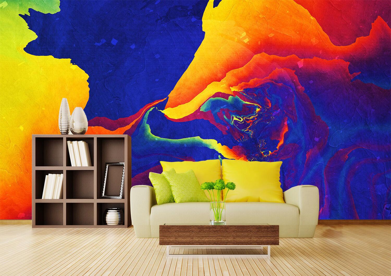 3D greene, yellowe Farben 755 Fototapeten Wandbild Bild Tapete Familie Kinder