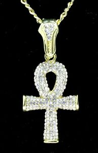 Icy-Ankh-Pendant-14k-Gold-Plated-Cz-w-24-034-Link-Chain-Hip-Hop-Necklace