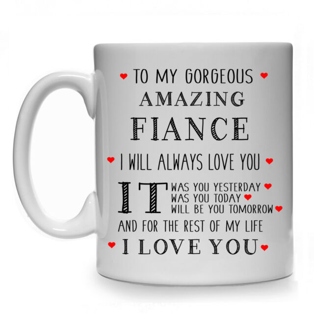 TO MY GORGEOUS AMAZING FIANCE MALE MENS GIFT MUG CUP WEDDING PRESENT BIRTHDAY