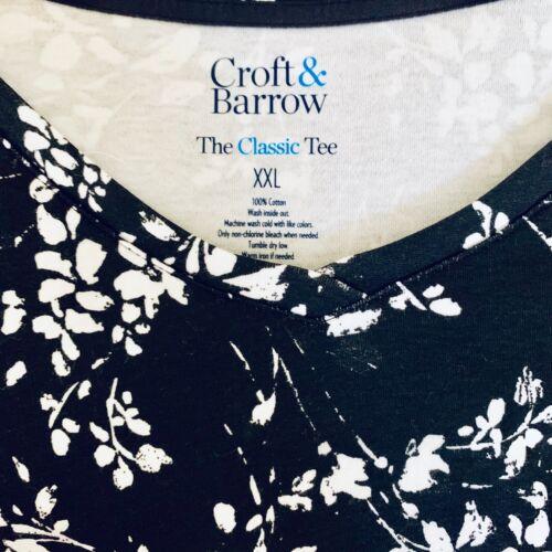 Croft /& Barrow Knit Top NWT Womens Long Sleeve Black /& White Floral T-shirt