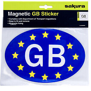 GB STICKER GREAT BRITAIN MAGNET PLATE BADGE OVAL TRAVEL ABROAD PVC    *MAGNETIC*