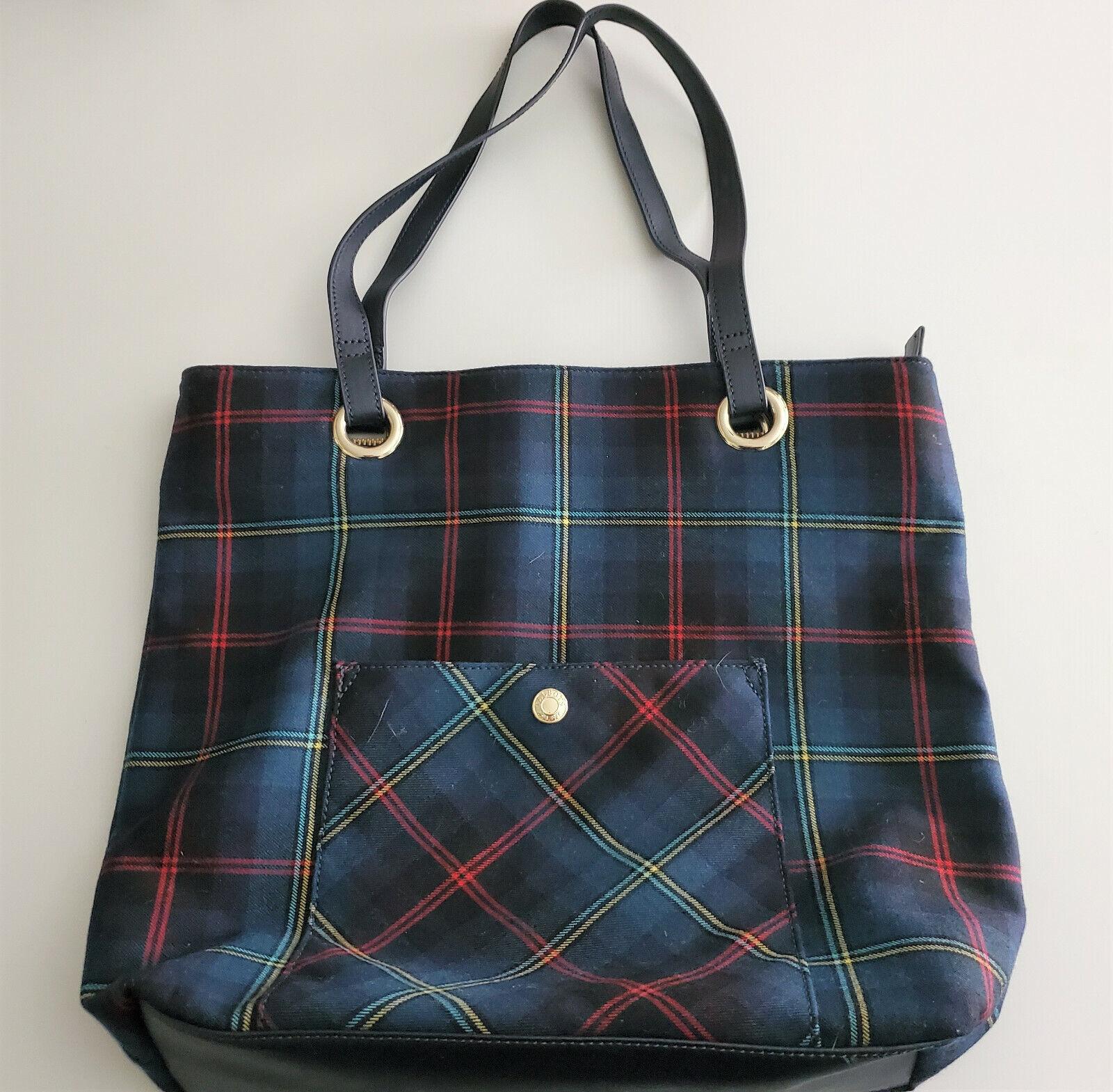 TALBOT'S Tweed Tartan Plaid Wool Zip Pocket Tote Carryall Bag Lthr Trim FS