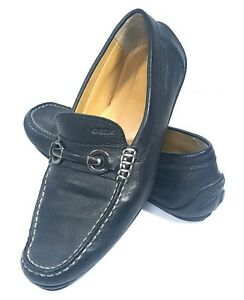 e0d2e53cb44 Geox Mens Shoes Respira Black Pebbled Leather Loafers Horse Bit Size ...