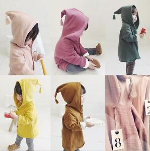 Kids Toddler Coat Casual Top Hooded Cape Outwear Girls Cotton&Jute Jacket GIFT