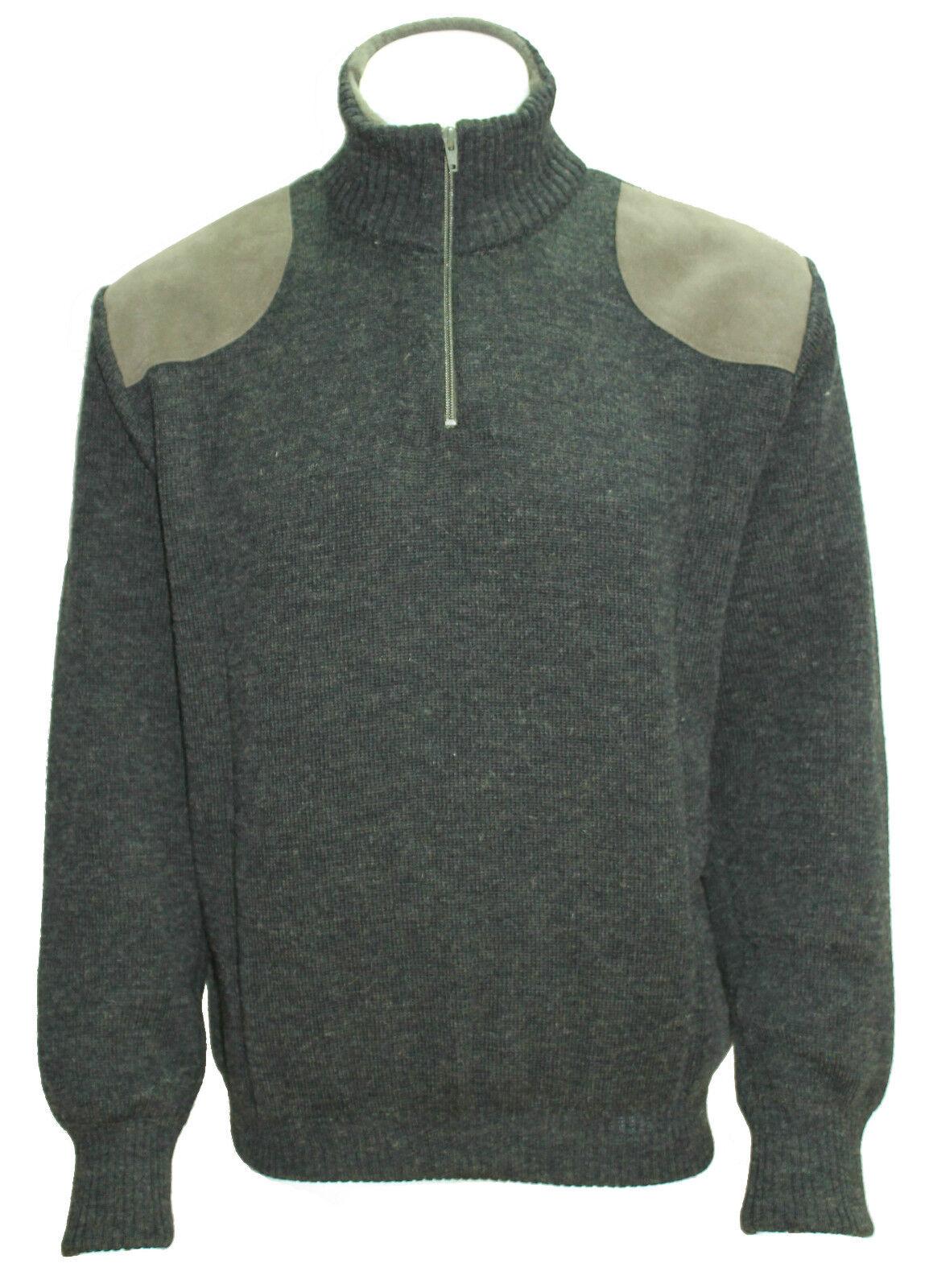 100% Wool, Zip Roll Collar Country Jumper, fleece lined collar & cuffs,